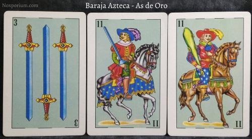 Baraja Azteca - As de Oro: 3 Espadas, 11 Espadas, & 11 Bastos.