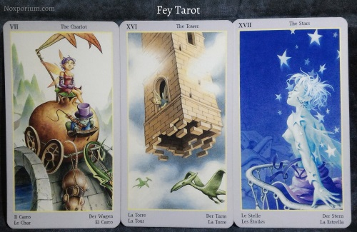 Fey Tarot: The Chariot, The Tower, & The Star.