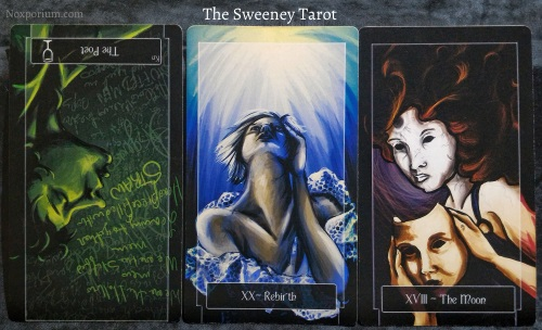 The Sweeney Tarot: Knight of Cups reversed, Rebirth [XX], & The Moon.