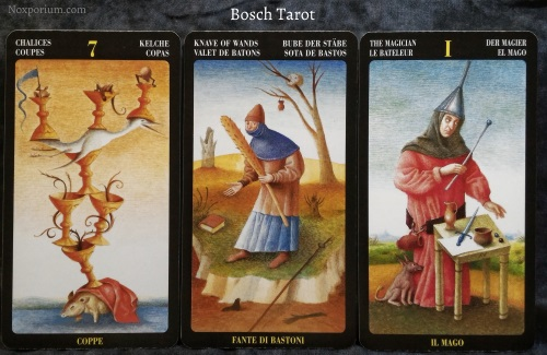 Bosch Tarot: 7 of Chalices, Knave of Wands, & The Magician.