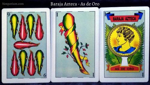 Baraja Azteca - As de Oro: 9 Bastos, 1 Basto, & 1 Oro.