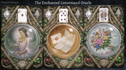 The Enchanted Lenormand Oracle: Woman + Letter + Bouquet.