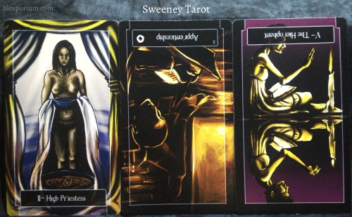 Sweeney Tarot: High Priestess, 8 of Coins reversed, & The Hierophant reversed.