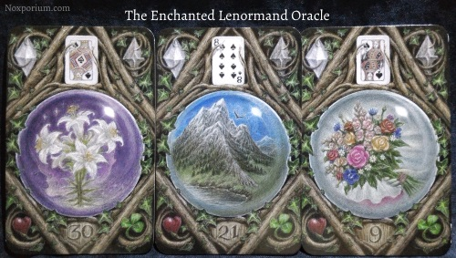 The Enchanted Lenormand Oracle: Lily + Mountain + Bouquet.