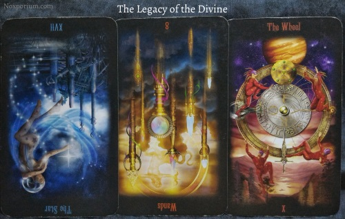 The Legacy of the Divine: The Star reversed, 8 of Wands reversed, & The Wheel.