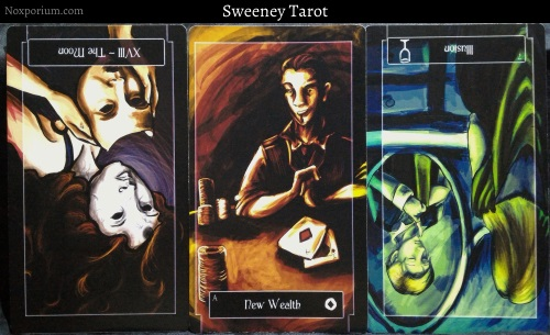 The Sweeney Tarot: The Moon reversed, Ace of Coins, & 7 of Cups reversed.