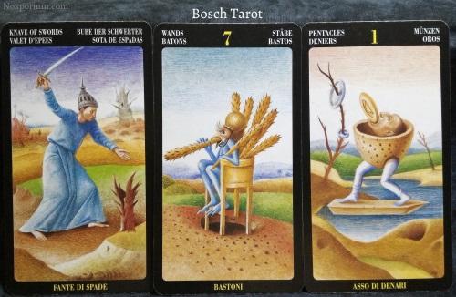 Bosch Tarot: Knave of Swords, 7 of Wands, & Ace of Pentacles.