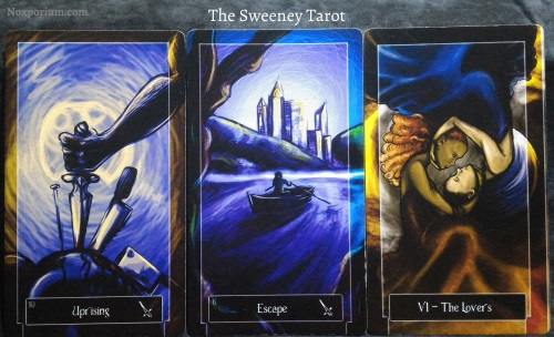 The Sweeney Tarot: 10 of Swords, 6 of Swords, & The Lovers.