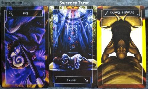 The Sweeney Tarot: 4 of Swords reversed, 9 of Swords, & 9 of Wands reversed.