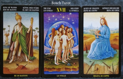 Bosch Tarot: King of Wands, The Star, & Queen of Chalices.