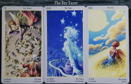 The Fey Tarot: The Wheel, The Stars, & The Sun.