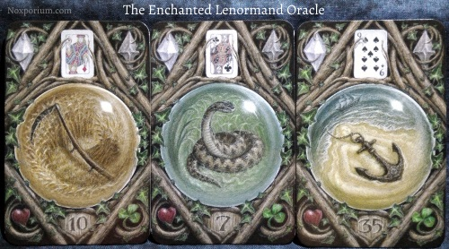 The Enchanted Lenormand Oracle: Scythe + Snake + Anchor.