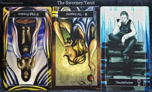 The Sweeney Tarot: The High Priestess reversed, The Empress reversed, & 4 of Cups.