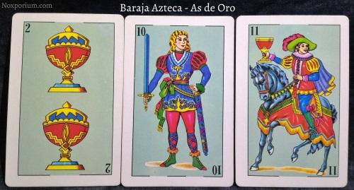 Baraja Azteca - As de Oro: 2 Copas, 10 Espadas, & 11 Copas.