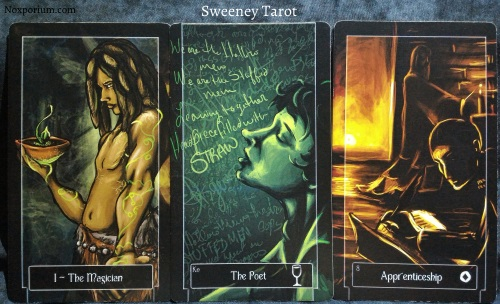 Sweeney Tarot: The Magician, Knight of Cups, & 8 of Coins.