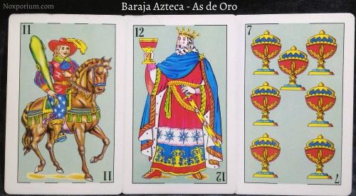 Baraja Azteca - As de Oro: 11 Bastos, 12 Copas, & 7 Copas.