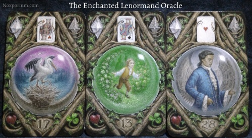 The Enchanted Lenormand Oracle: Stork + Child + Man.