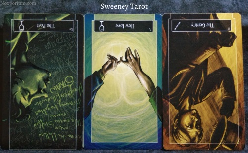 Sweeney Tarot: Knight of Cups reversed, Ace of Cups reversed, & King of Wands reversed.