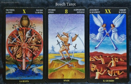Bosch Tarot: The Wheel, 8 of Swords, & Judgement.