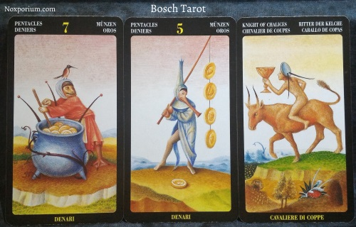 Bosch Tarot: 7 of Pentacles, 5 of Pentacles, & Knight of Chalices.