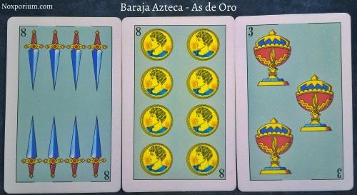 Baraja Azteca - As de Oro: 8 Espadas, 8 Oros, & 3 Copas.