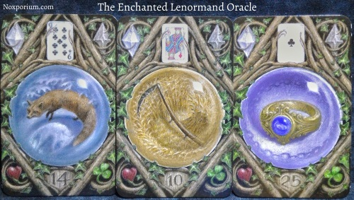 The Enchanted Lenormand Oracle: Fox + Scythe + Ring.