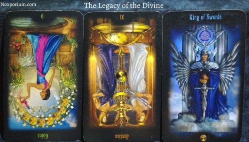 The Legacy of the Divine: 9 of Coins reversed, Justice reversed, & King of Swords.