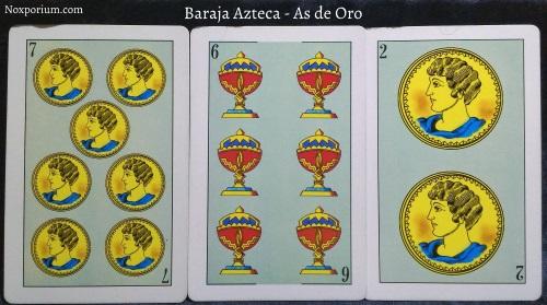 Baraja Azteca - As de Oro: 7 Oros, 6 Copas, & 2 Oros.