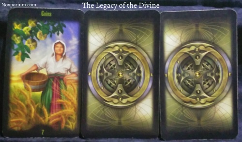 The Legacy of the Divine: 7 of Coins, unknown, & unknown.