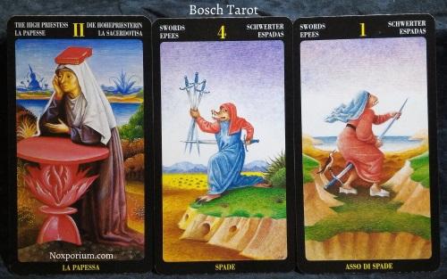 Bosch Tarot: The High Priestess, 4 of Swords, & Ace of Swords.