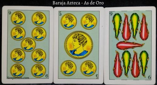 Baraja Azteca - As de Oro: 9 Oros, 5 Oros, & 9 Bastos.
