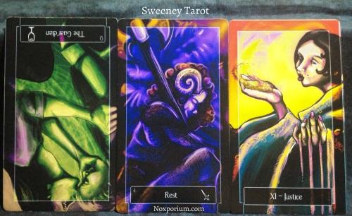 Sweeney Tarot: Queen of Cups reversed, 4 of Swords, & Justice [XI].