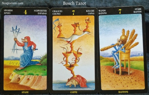 Bosch Tarot: 4 of Swords, 7 of Chalices, & 7 of Wands.