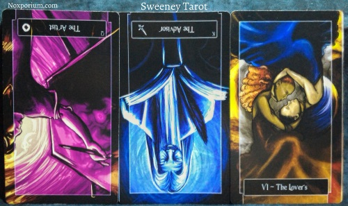 The Sweeney Tarot: Queen of Coins reversed, King of Swords reversed, & The Lovers.