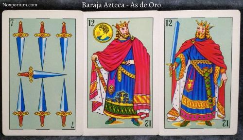 Baraja Azteca - As de Oro: 7 Espadas, 12 Oros, 12 Espadas.