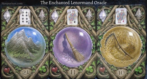 The Enchanted Lenormand Oracle: Mountain + Broom + Scythe.