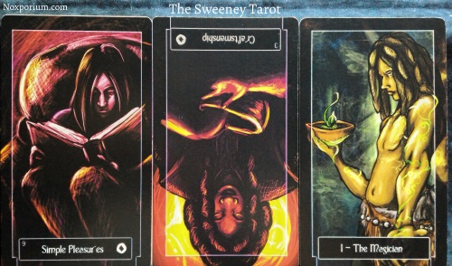 The Sweeney Tarot: 9 of Coins, 3 of Coins reversed, & The Magician.