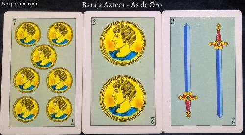 Baraja Azteca - As de Oro: 7 Oros, 2 Oros, 2 Espadas.