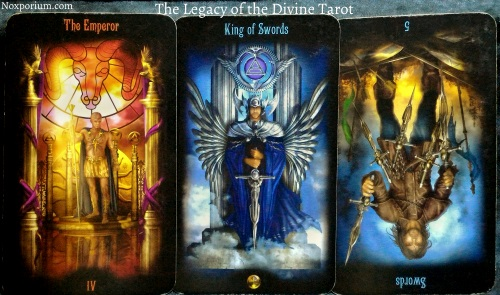 The Legacy of the Divine: The Emperor, King of Swords, & 5 of Swords reversed.