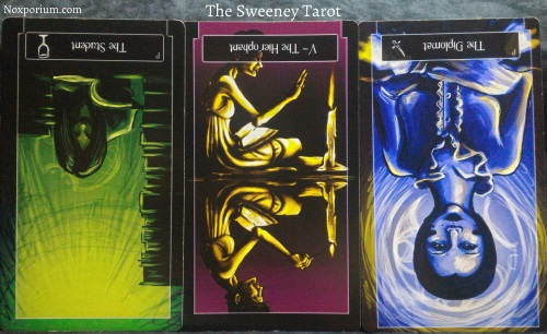 Sweeney Tarot: Page of Cups reversed, The Hierophant reversed, & Page of Swords reversed.