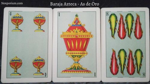 Baraja Azteca - As de Oro: 4 Copas, 1 Copa, & 8 Bastos.