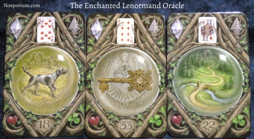 The Enchanted Lenormand Oracle: Dog + Key + Path.