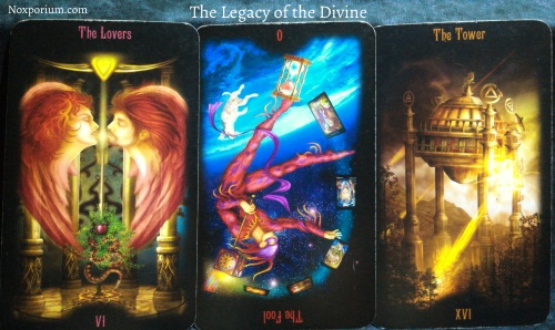 The Legacy of the Divine: The Lovers, The Fool reversed, & The Tower.
