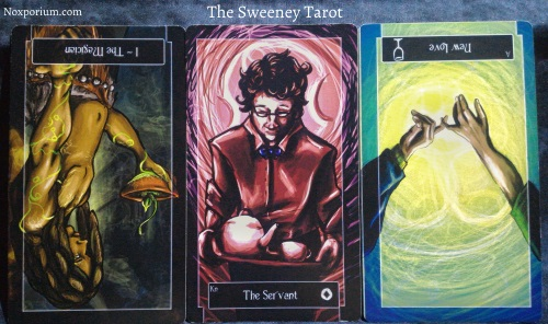 The Sweeney Tarot: The Magician reversed, Knight of Coins, & Ace of Cups reversed.