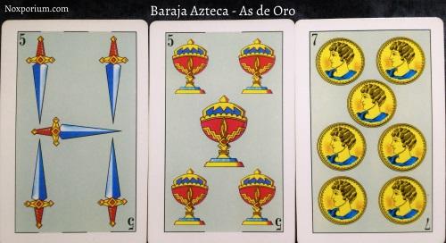 Baraja Azteca - As de Oro: 5 Espadas, 5 Copas, & 7 Oros.
