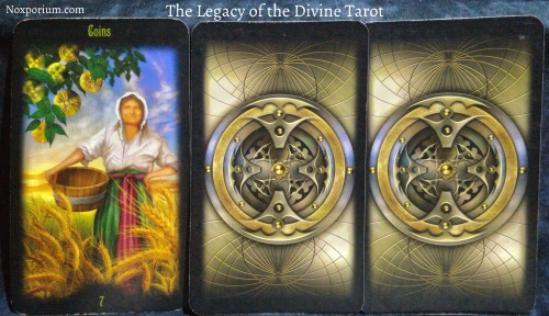 The Legacy of the Divine Tarot: 7 of Coins, Unknown, & Unknown.