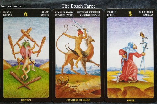 Bosch Tarot: 6 of Wands, Knight of Swords, & 3 of Swords.