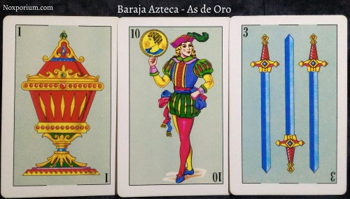 Baraja Azteca - As de Oro: 1 Copa, 10 Oros, 3 Espadas.