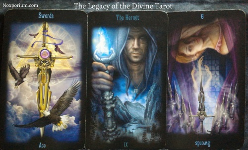 Legacy of the Divine: Ace of Swords, The Hermit, & 9 of Swords reversed.