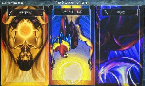 The Sweeney Tarot: 4 of Wands reversed, The Star reversed, & 5 of Swords reversed.